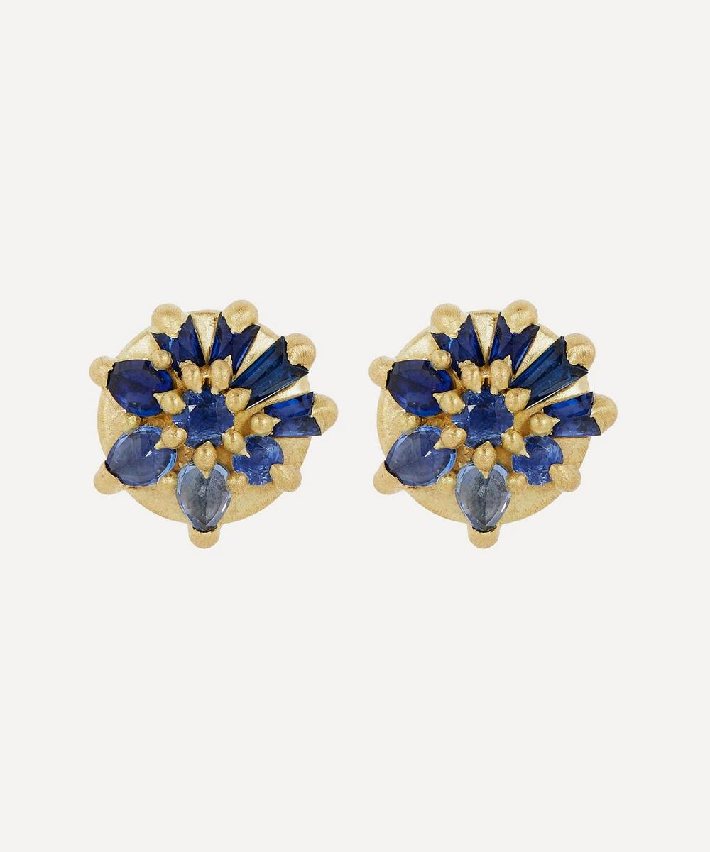 Polly Wales - 18ct Gold Lyra Blue Sapphire Stud Earrings