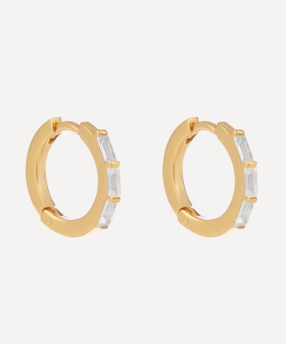 THE UNIFORM - Gold-Plated Baguette White Topaz Huggie Hoop Earrings