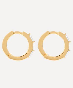 Gold-Plated Baguette White Topaz Huggie Hoop Earrings