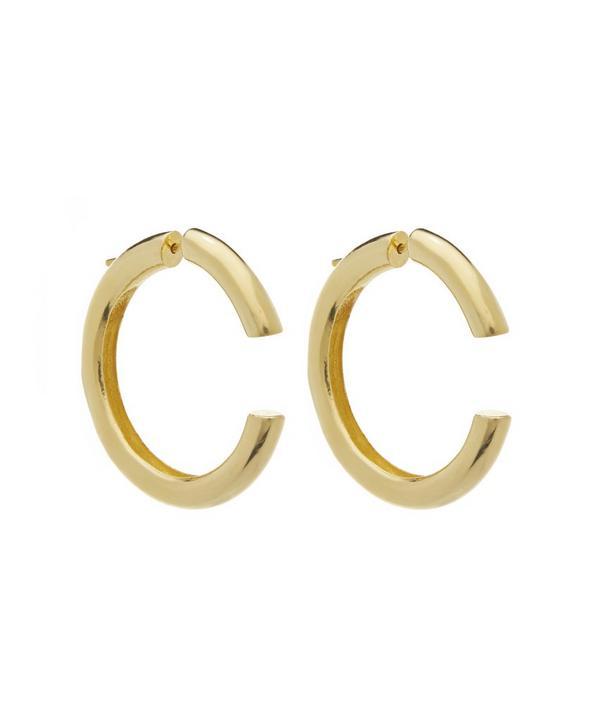 Gold-Plated Cut-Off Hoop Earrings