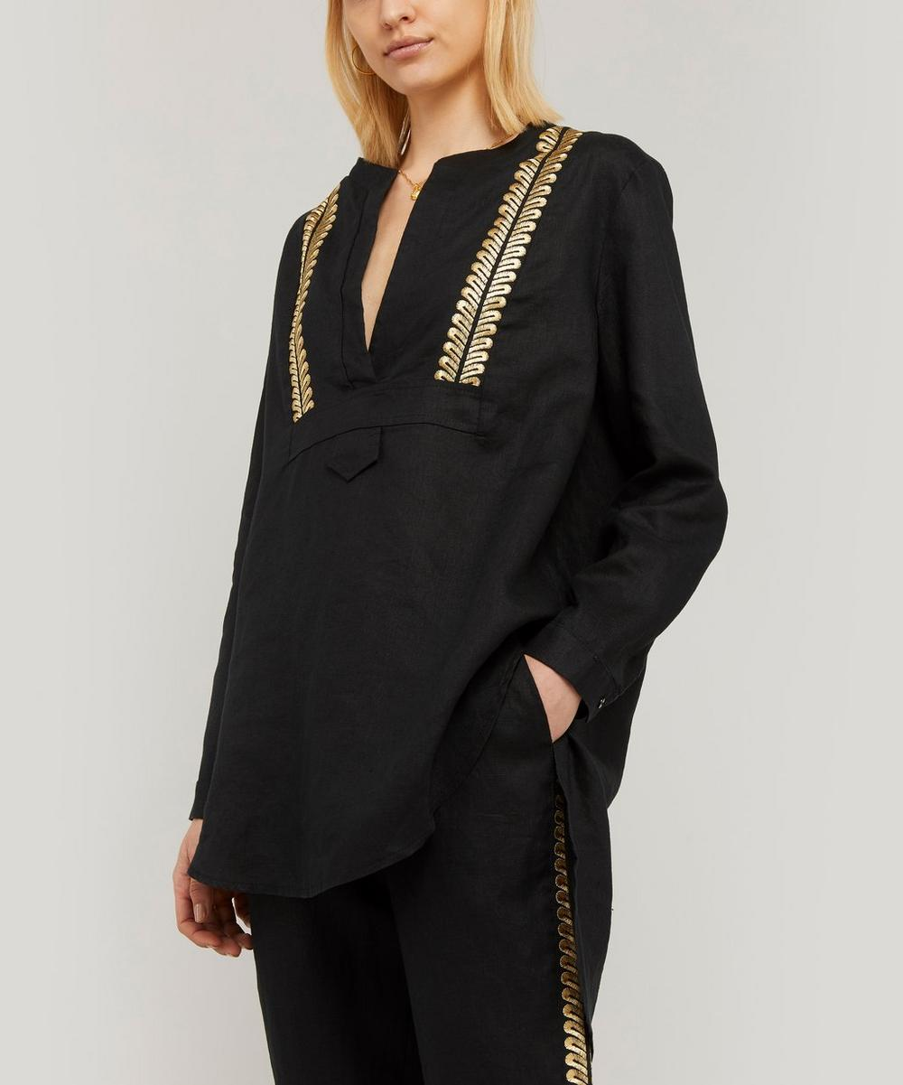Embroidered Linen V-Neck Tunic