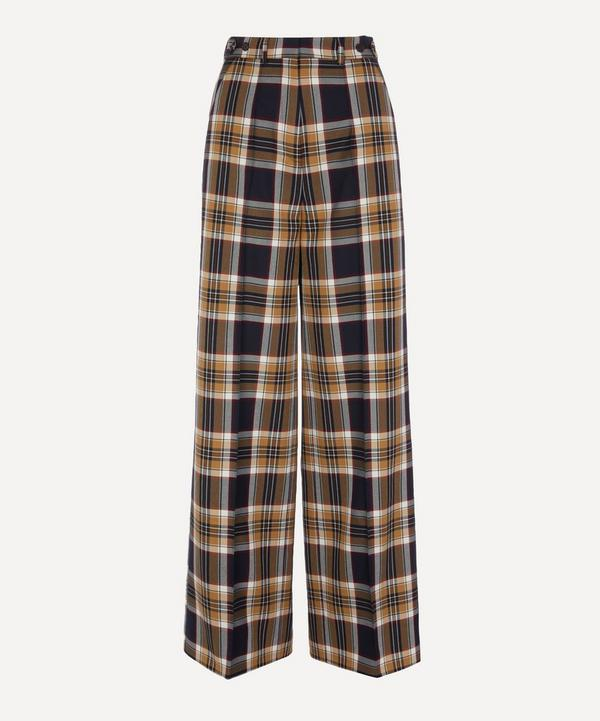 High-Waisted Check Trousers
