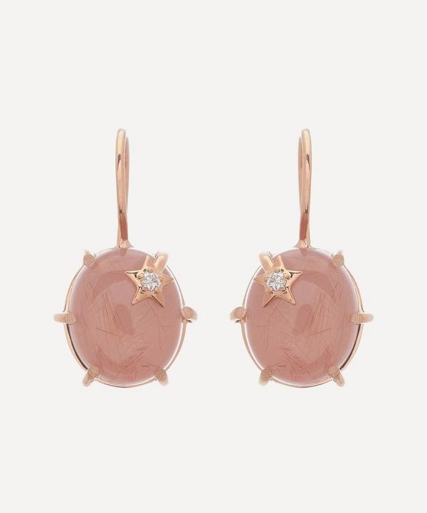 Andrea Fohrman - 18ct Rose Gold Mini Galaxy Guava Quartz and Diamond Star Drop Earrings