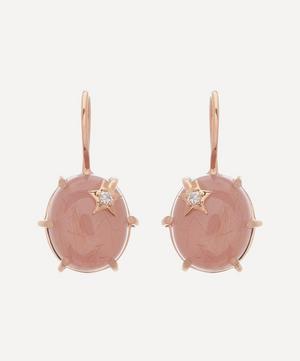 18ct Rose Gold Mini Galaxy Guava Quartz and Diamond Star Drop Earrings
