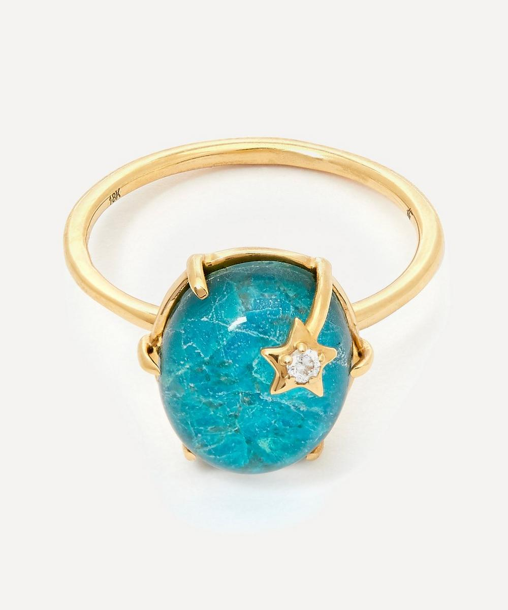 Gold Mini Galaxy Chrysocolla and Diamond Star Ring