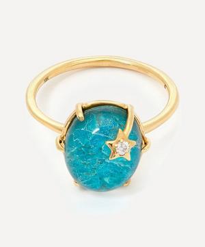 Gold Mini Galaxy Chrysocolla and Diamond Star Ring