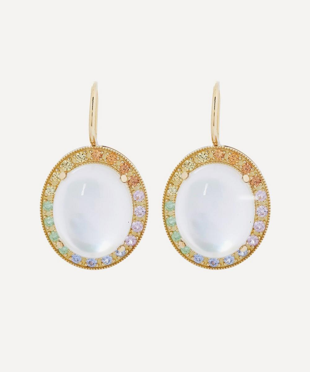 Andrea Fohrman - 18ct Gold Mother of Pearl and Rainbow Sapphire Drop Earrings