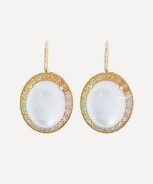 18ct Gold Mother of Pearl and Rainbow Sapphire Drop Earrings