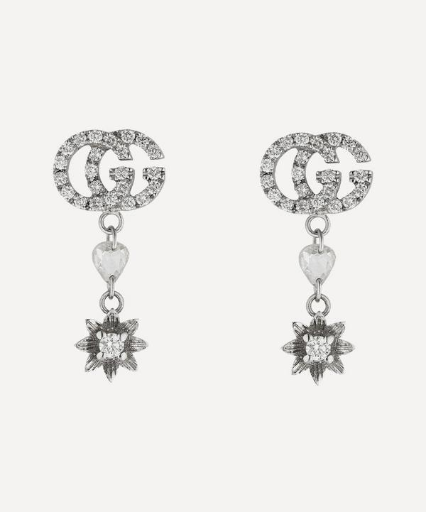 White Gold GG and Flower Diamond Drop Earrings