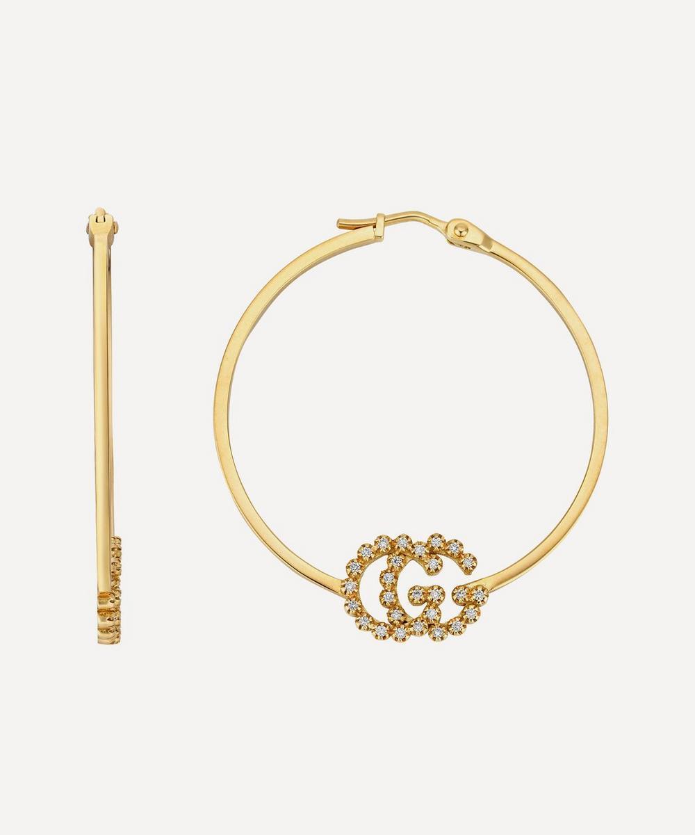 Gold GG Running Diamond Hoop Earrings