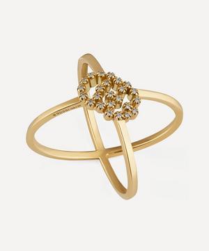 Gold GG Running Diamond X Ring