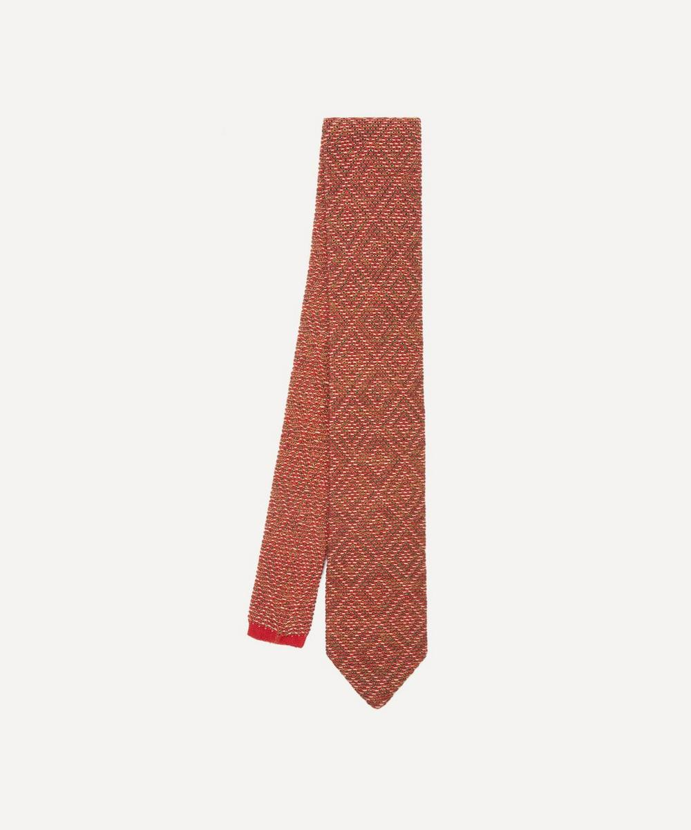 Diamond Knitted Cotton and Silk-Blend Tie