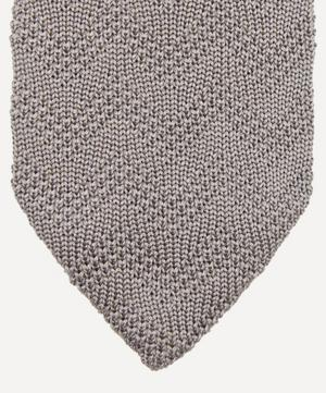 Solid Zig-Zag Knitted Cotton and Silk-Blend Tie