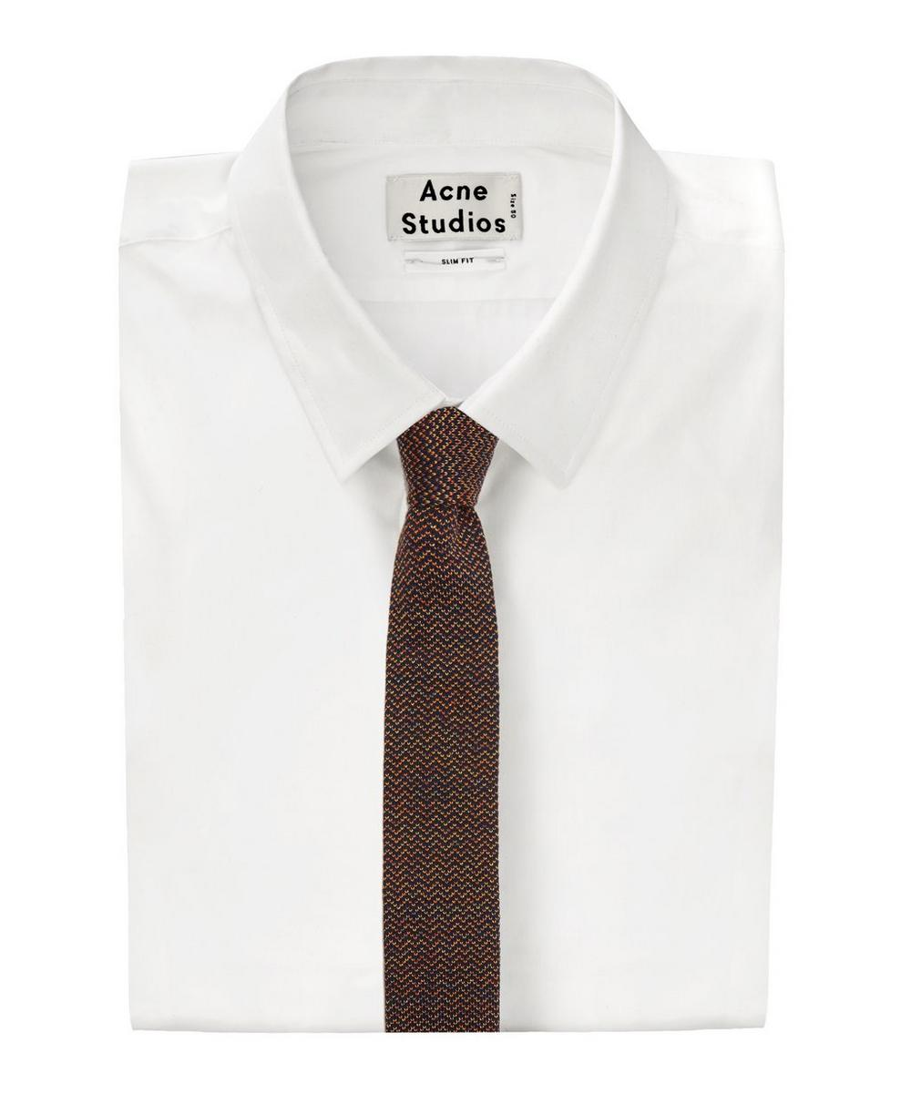 Zig-Zag Knitted Cotton and Silk-Blend Tie