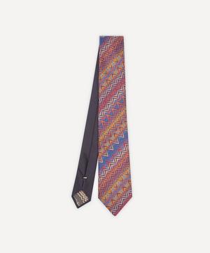 Multicoloured Thin Zig Zag Silk Tie