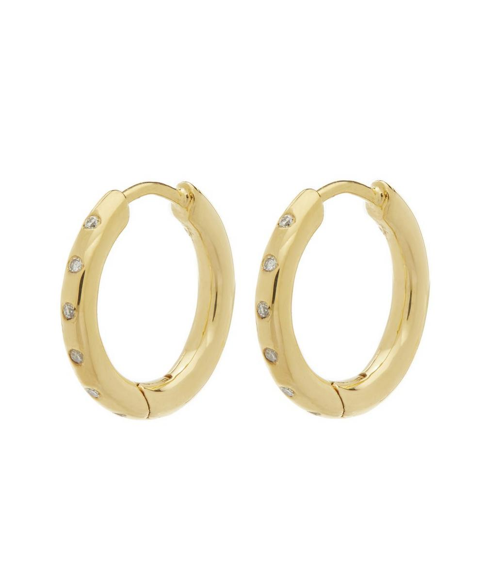 Gold-Plated Diamond Hoop Earrings