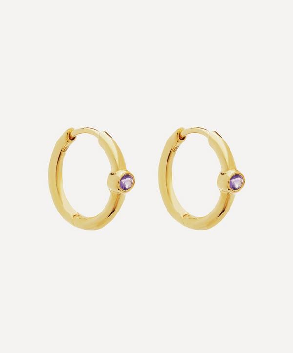 Gold-Plated Amethyst Hoop Earrings