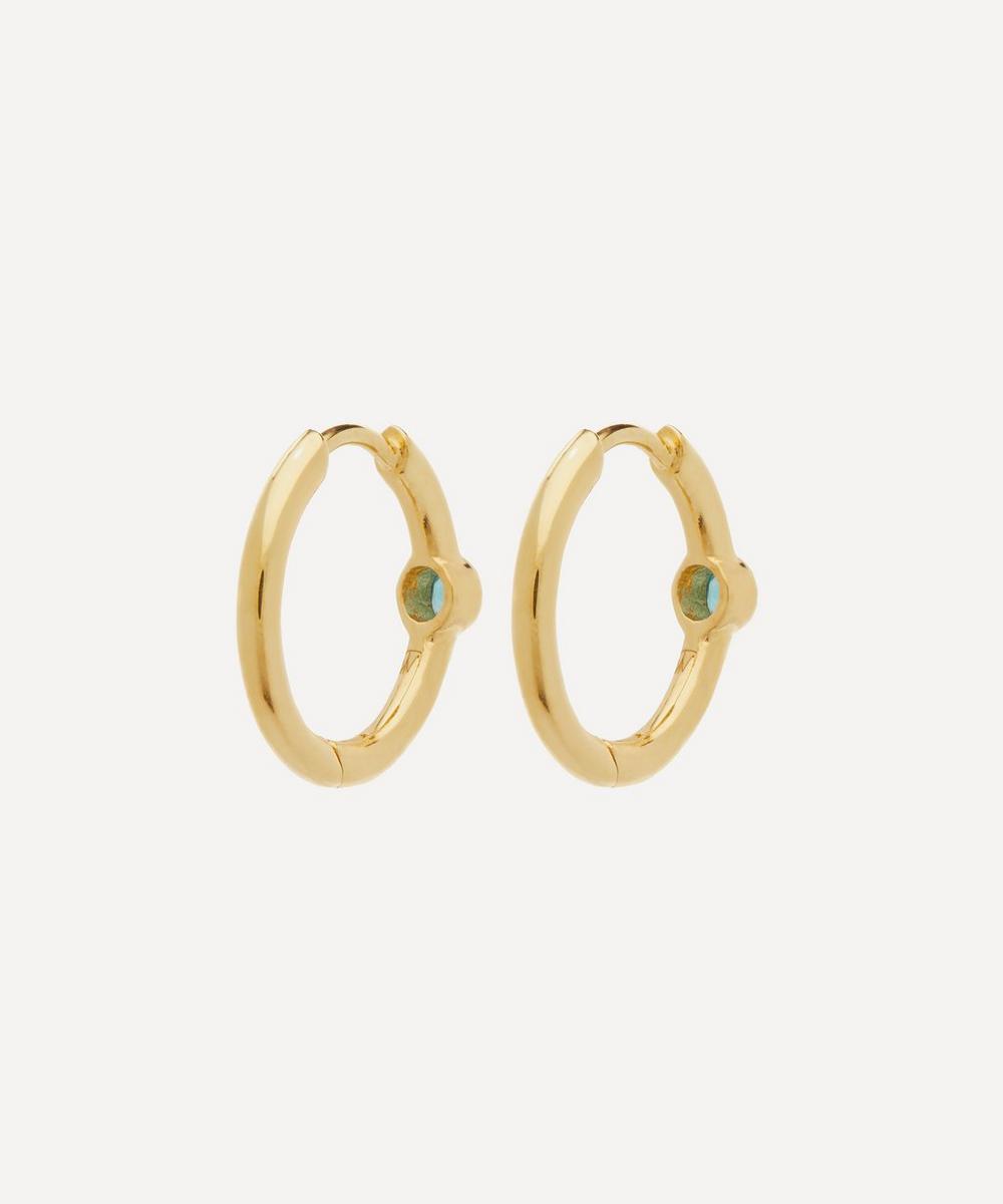 Gold-Plated Apatite Hoop Earrings