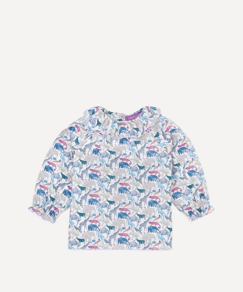 Liberty - Queue For The Zoo Ruffle Blouse 3 Months-3 Years