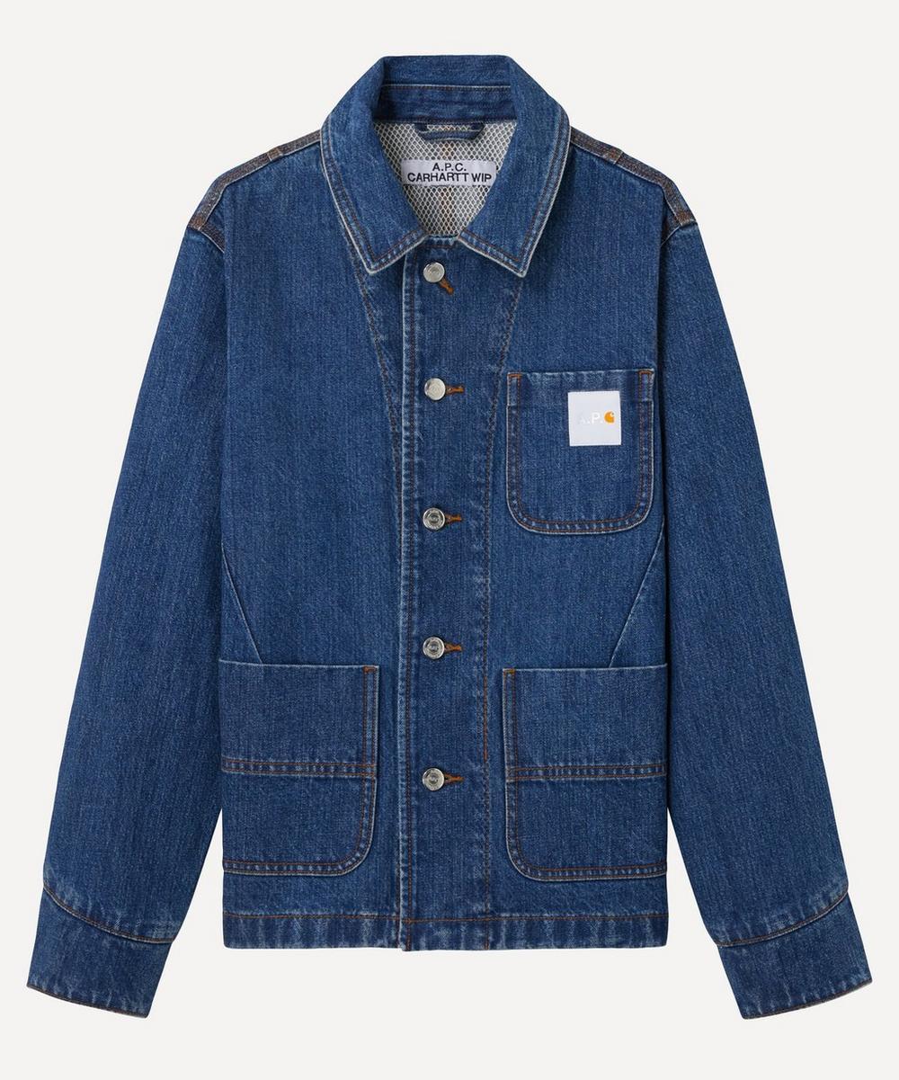 A.p.c. X Carhartt Talk Three Pocket Denim Workwear Shirt In Blue