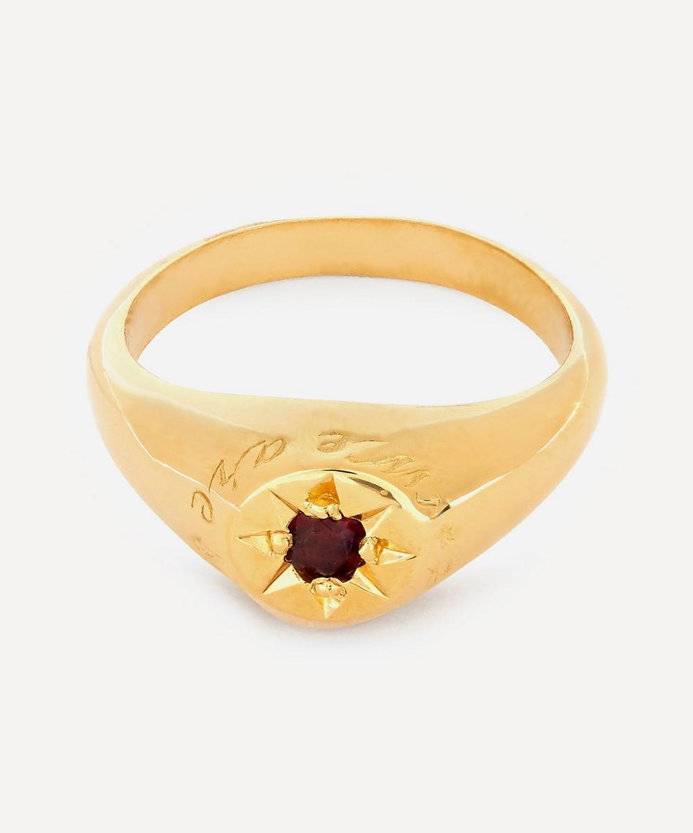 Alex Monroe - Gold-Plated Garnet Birthstone Ring