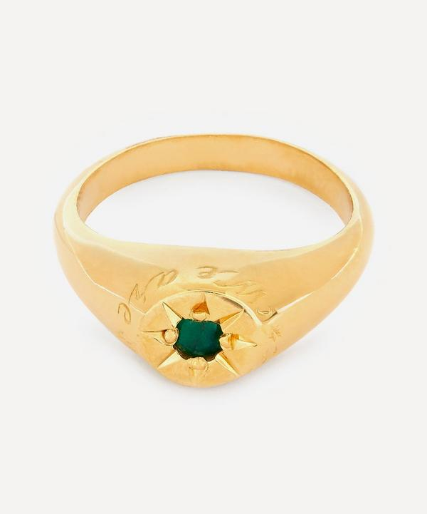 Gold-Plated Emerald Birthstone Ring