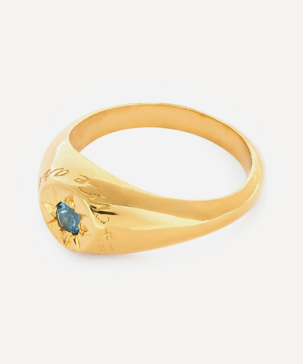 Gold-Plated Blue Topaz Birthstone Ring
