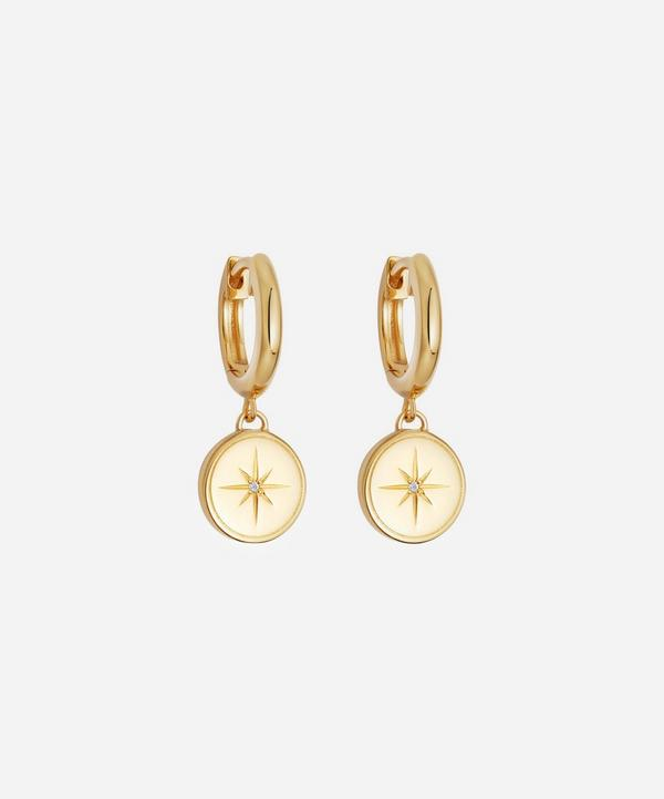 Gold Vermeil Celestial Compass White Sapphire Drop Earrings
