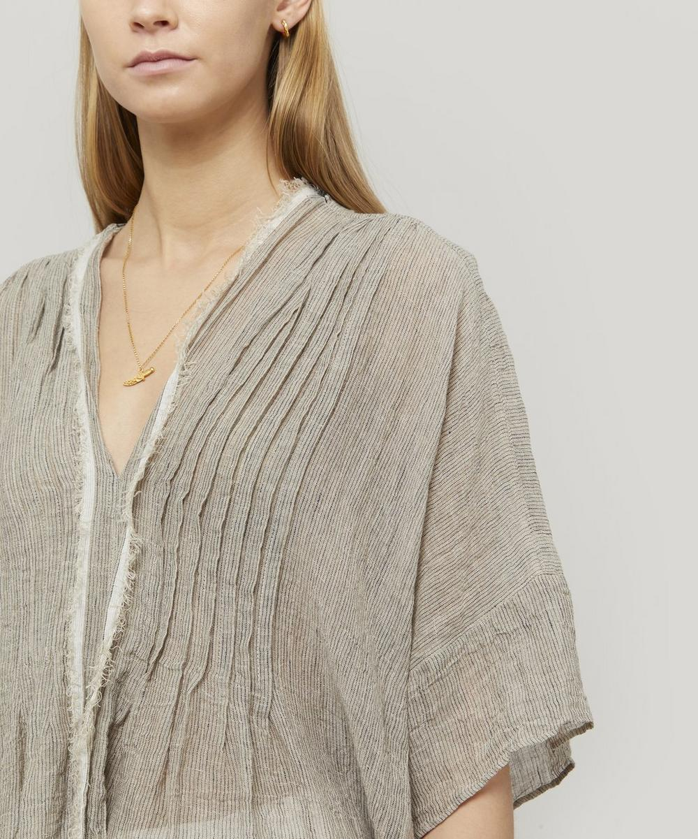 V-Neck Striped Linen Blouse