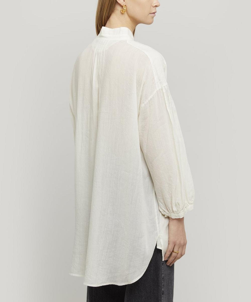 Linen-Blend Grandad Collar Blouse