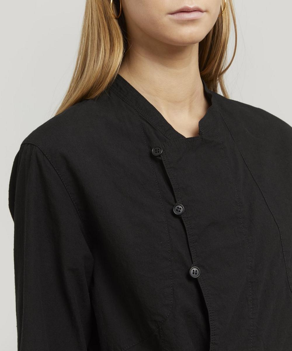 Double-Breasted Cotton-Hemp Peplum Jacket