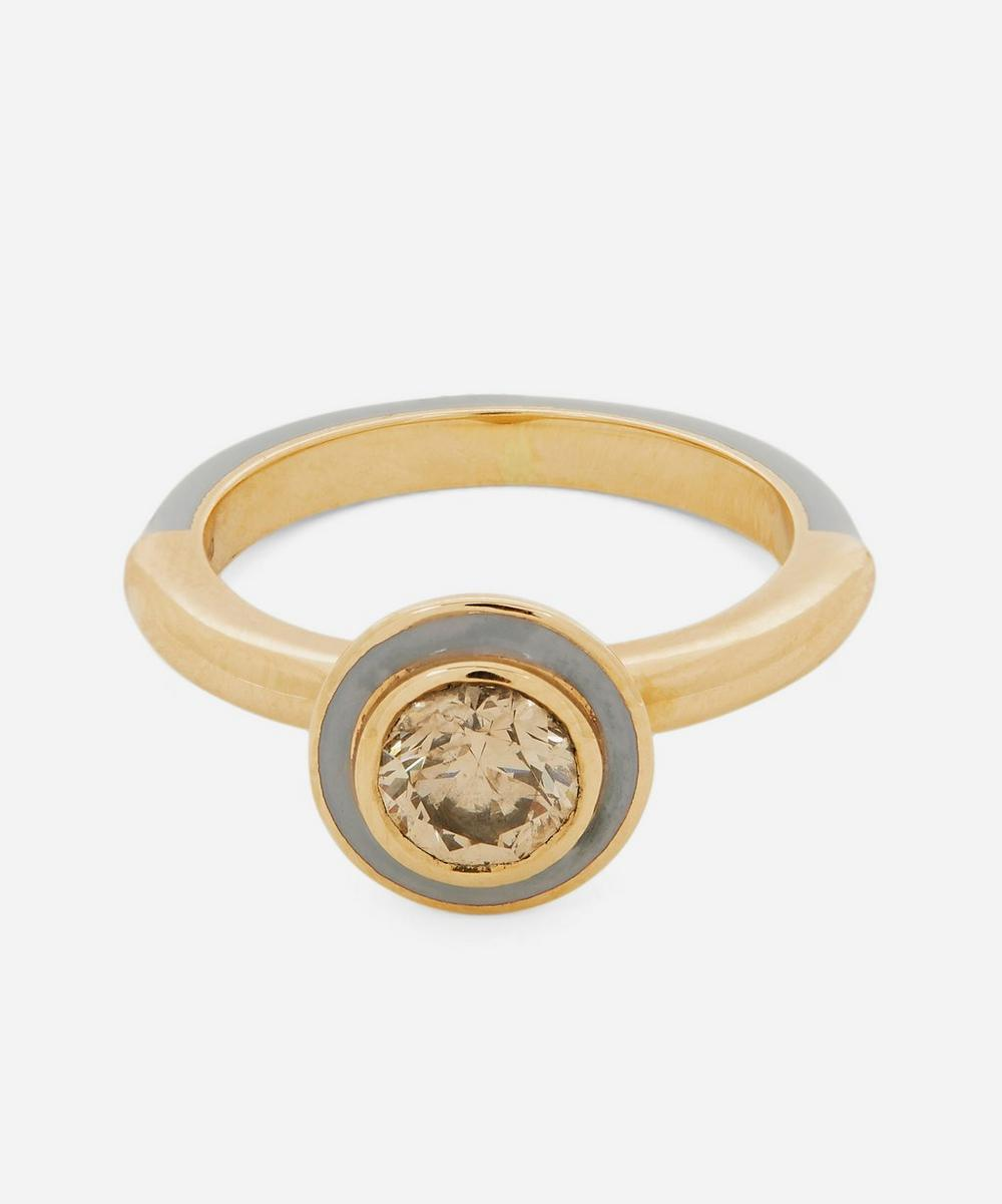 Gold Candy Lacquer Round Champagne Diamond Ring