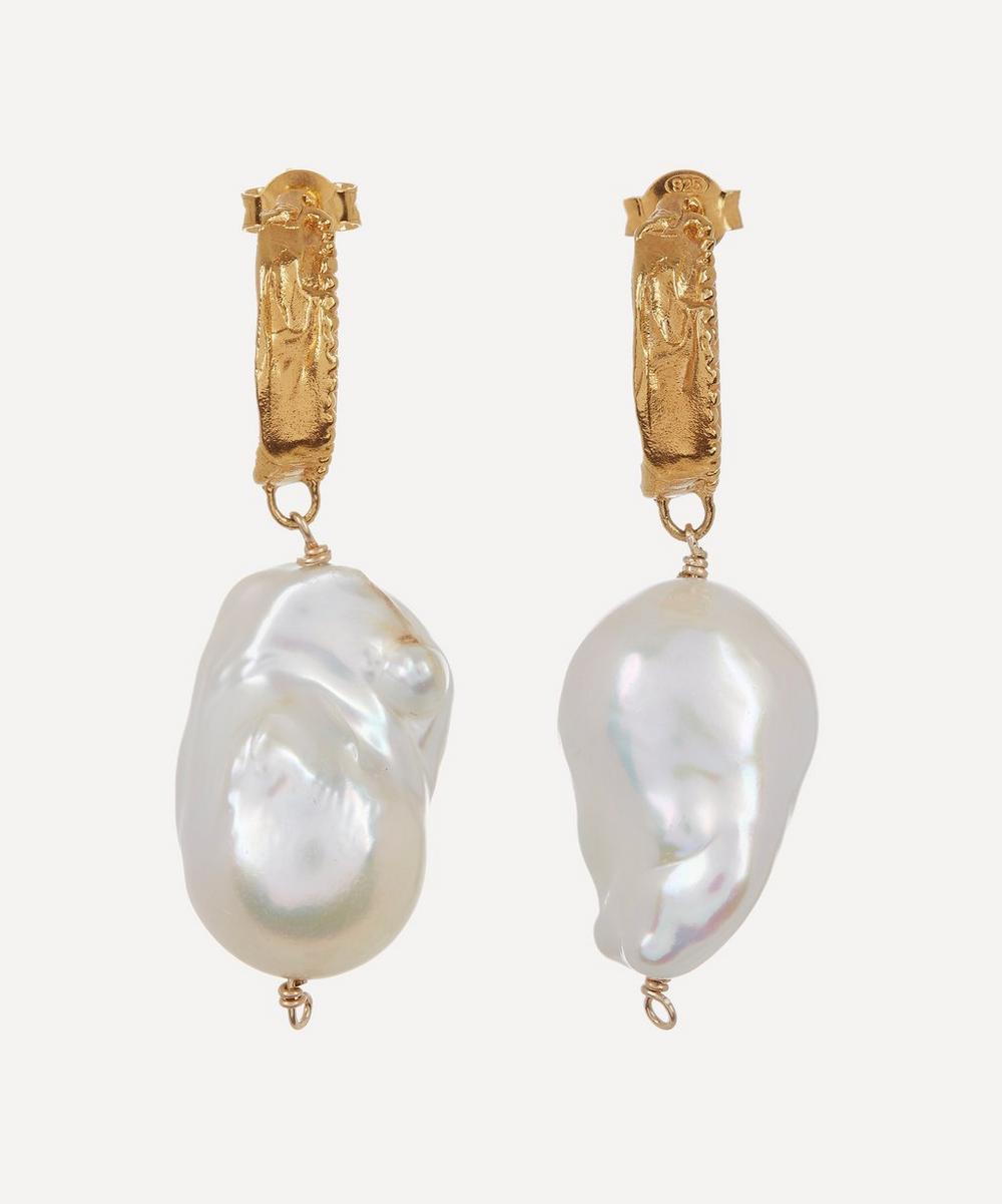 Gold-Plated The Water Bearer Baroque Pearl Hoop Earrings