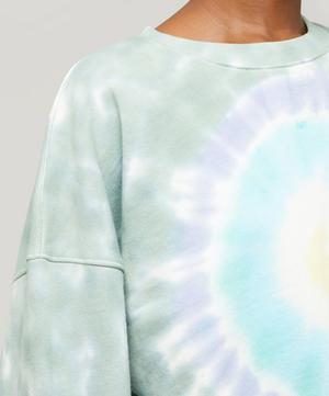 Balloon-Sleeve Cotton Tie-Dye Sweater