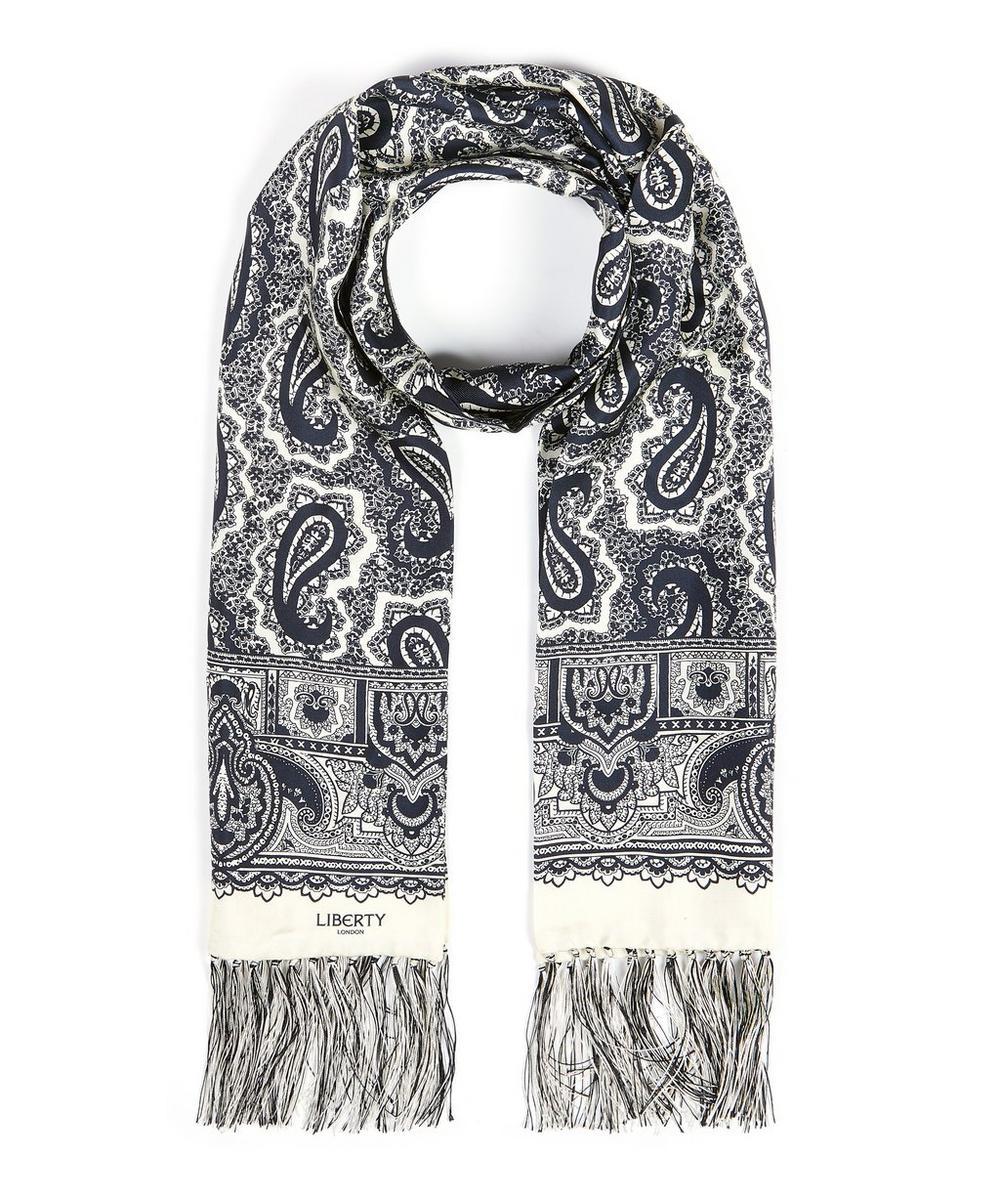 Davidson Fringed Printed Silk Scarf