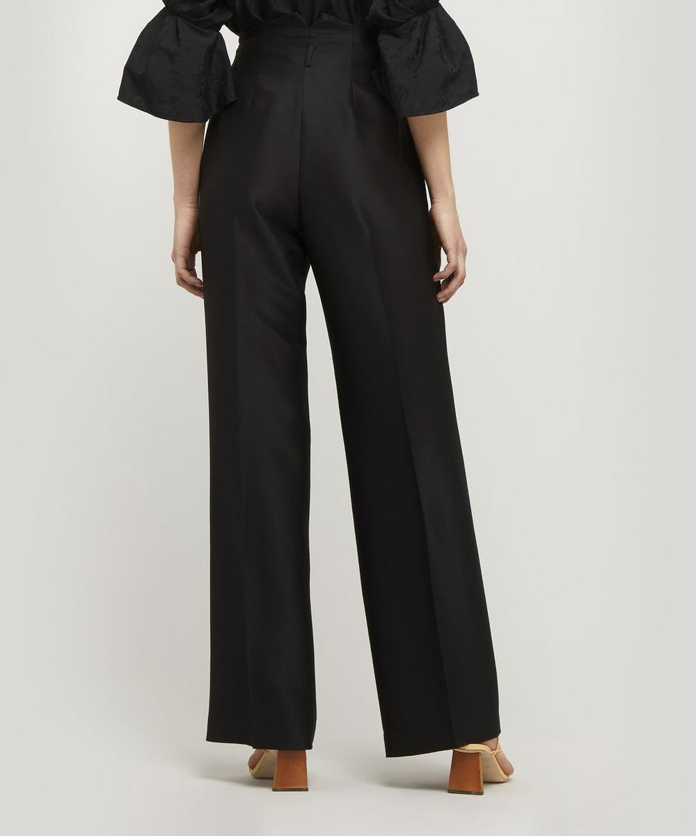 Wool and Silk-Blend High-Rise Trousers