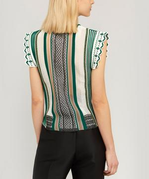 Sheer Insert Sleeveless Stripe Top