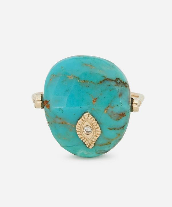 Pascale Monvoisin - Gold Arles Diamond and Turquoise Ring