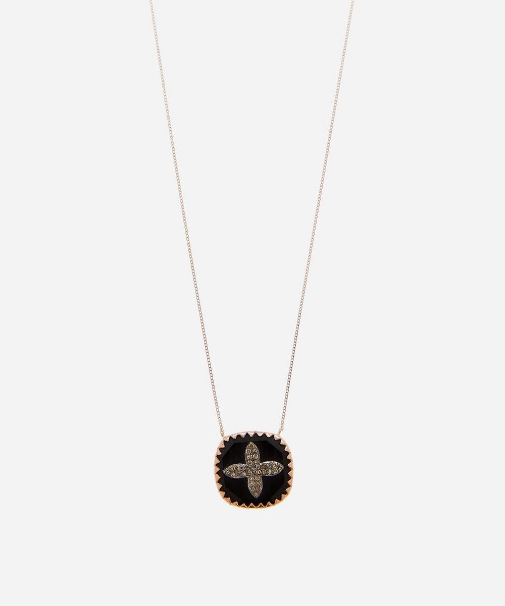 Rose Gold Bowie Diamond and Bakelite Pendant Necklace