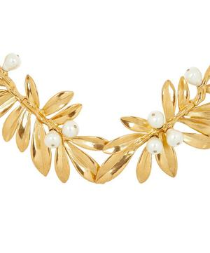 Gold-Tone Faux Pearl Leaf Necklace