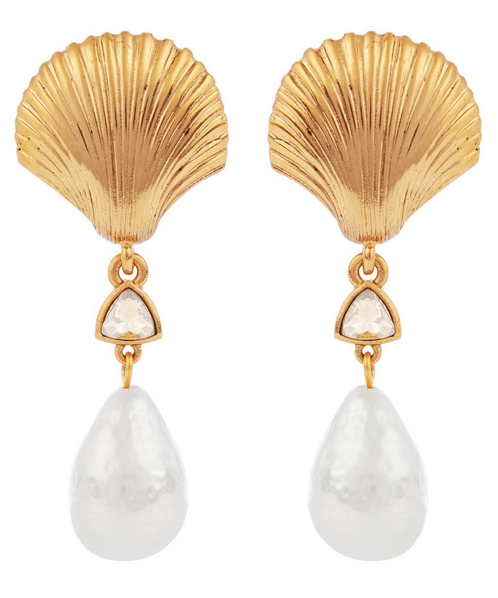 Gold-Tone Scallop Shell Faux Pearl Clip-On Drop Earrings