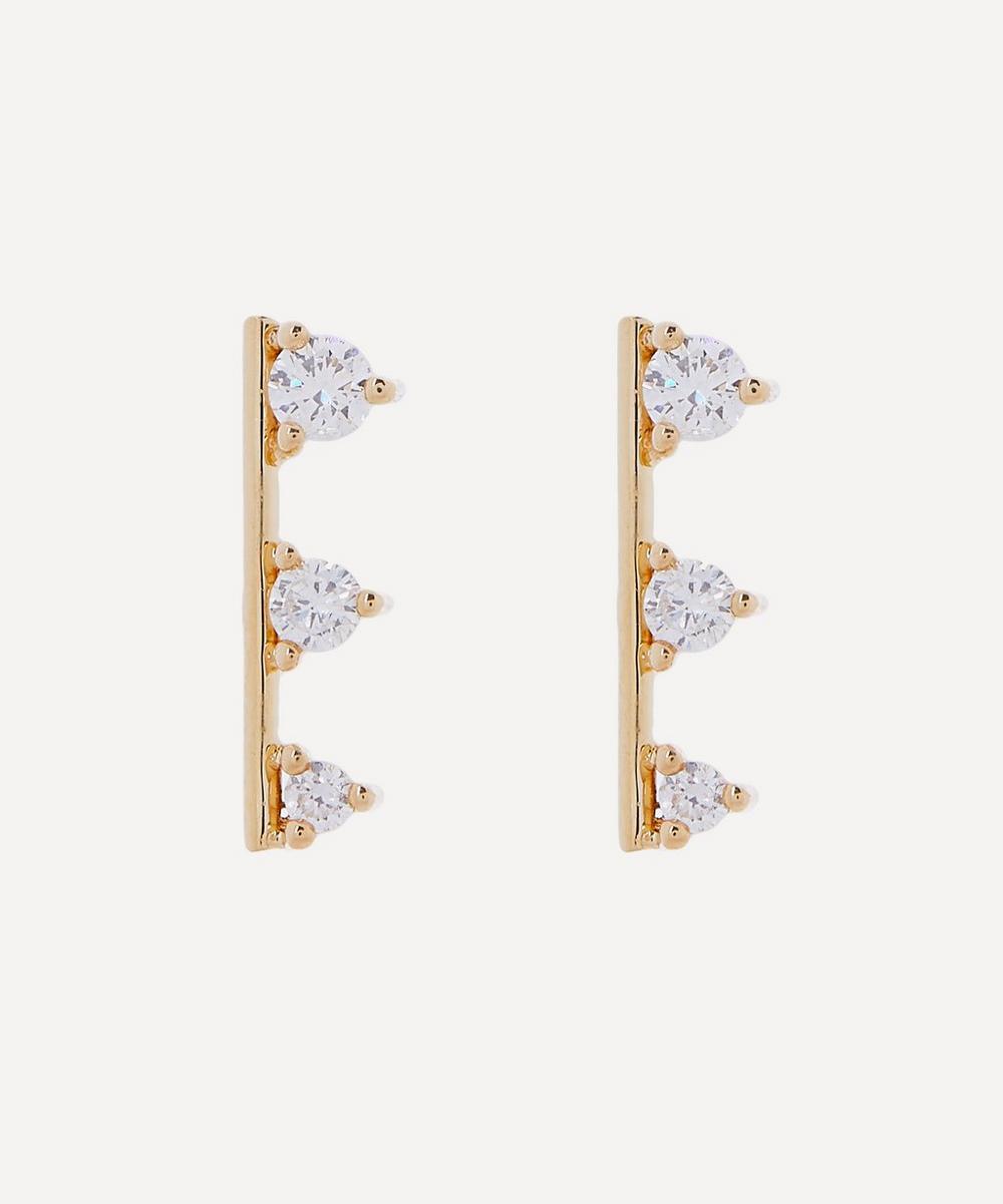 Mizuki - 14ct Gold Small Diamond Bar Stud Earrings