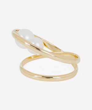 Gold Elipse Pearl Ring