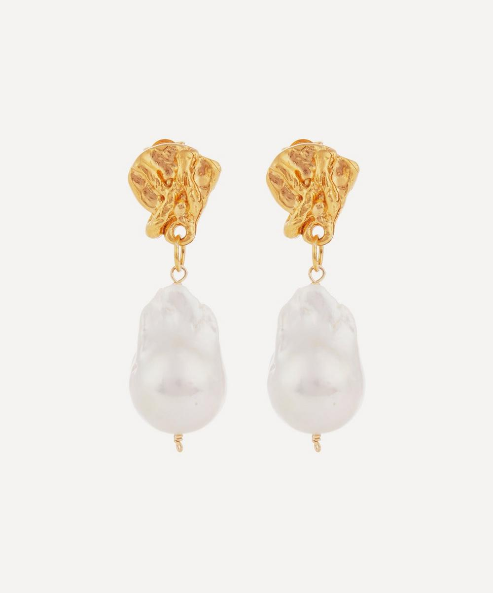 Gold-Plated The Fragment of Light Baroque Pearl Drop Earrings