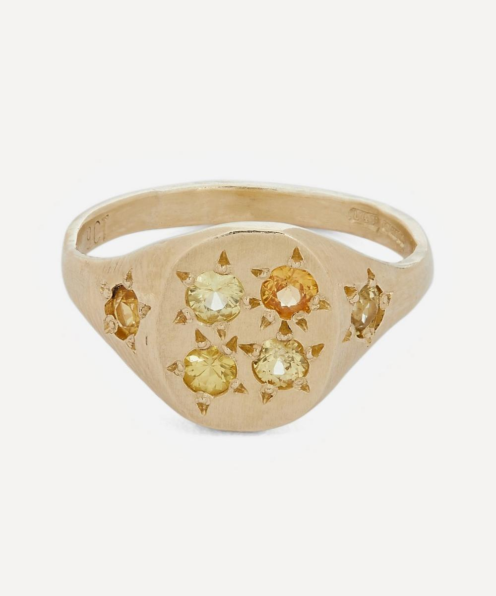 Gold Neapolitan Yellow Multi-Stone Signet Ring