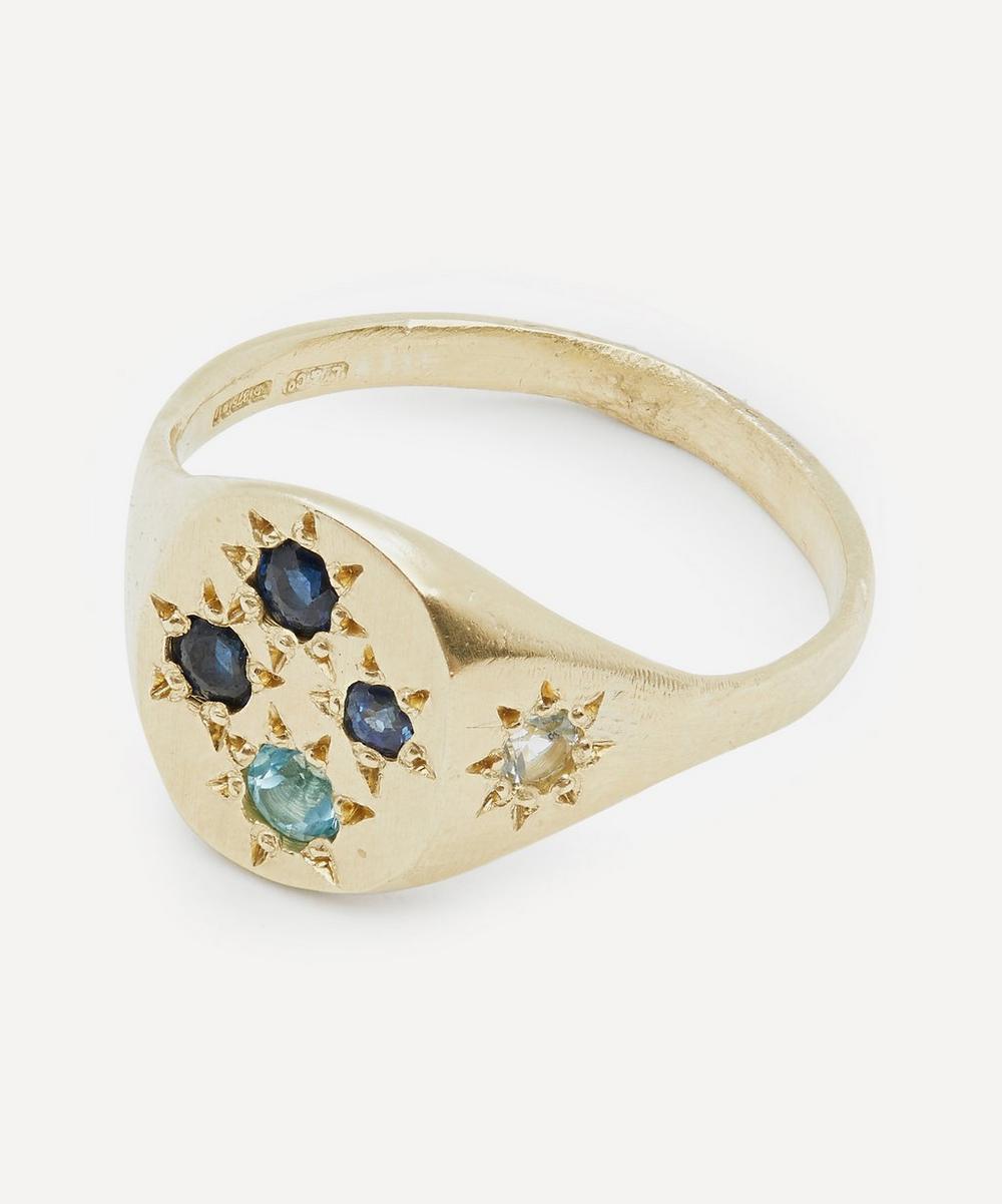 Gold Neapolitan Blue Multi-Stone Signet Ring