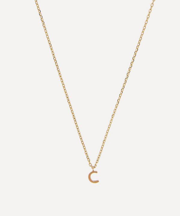 AURUM + GREY - 9ct Gold C Initial Pendant Necklace