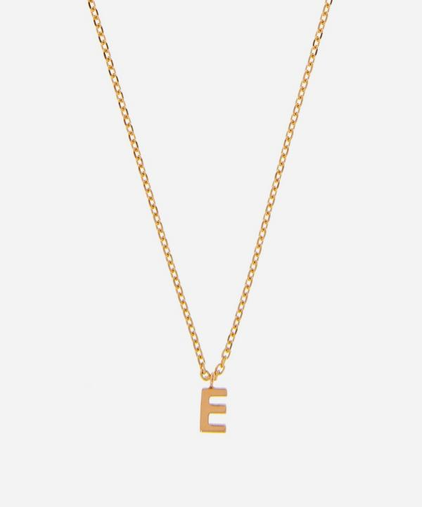 AURUM + GREY - 9ct Gold E Initial Pendant Necklace