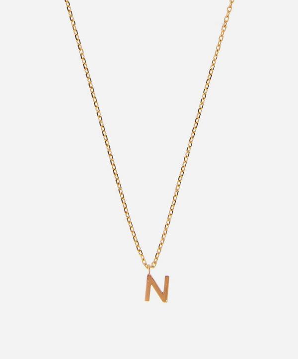 AURUM + GREY - 9ct Gold N Initial Pendant Necklace
