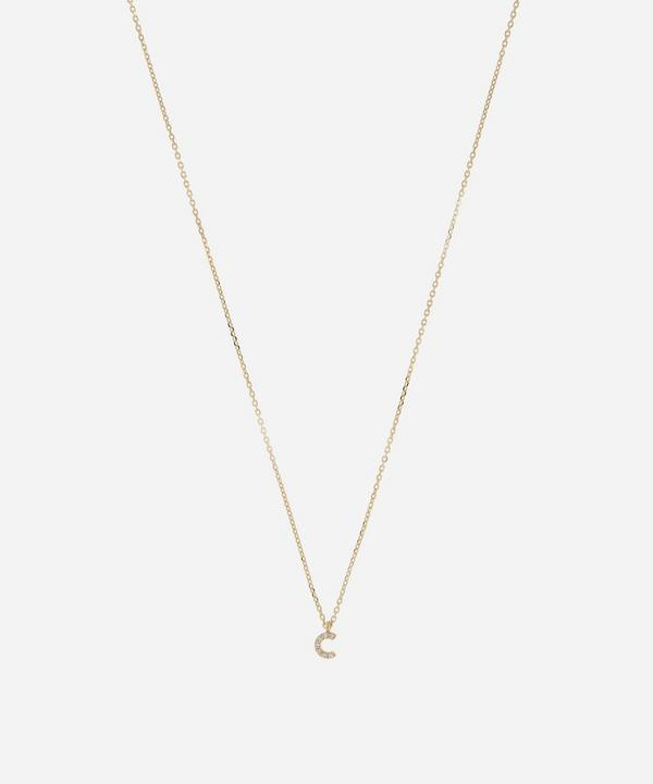 AURUM + GREY - 9ct Gold C Diamond Initial Pendant Necklace